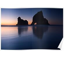 Sunset at Wharariki Beach Poster