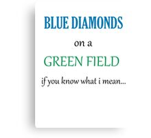 Blue Diamonds on a Green Field- Wicked Canvas Print
