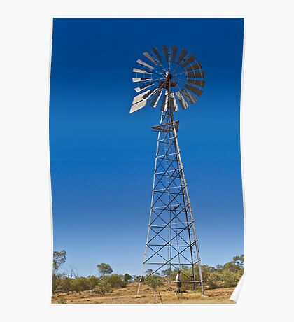 Windmill and blue sky Poster