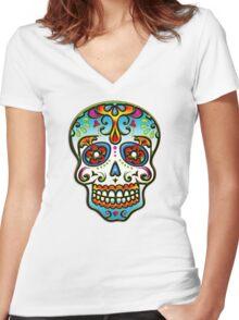Mexican Sugar Skull, Day of the Dead, Dias de los muertos Women's Fitted V-Neck T-Shirt