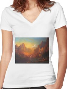 The Fellowship Of The Ring Moria Women's Fitted V-Neck T-Shirt