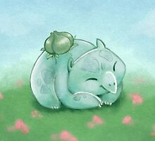 Snoozing Bulbasaur by TipsyKipsy