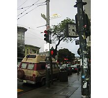 street corner on a cloudy day Photographic Print