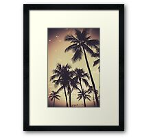 Retro Sepia Palm Trees Framed Print
