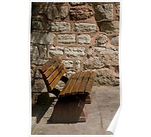 Stone Wall Bench Poster