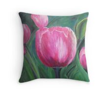 Smiling Tulips Throw Pillow