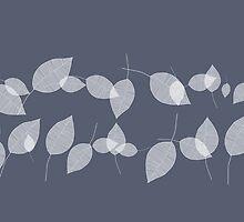 leaves in blue background by annemiek groenhout