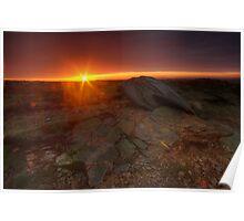 Stanage Edge rising sun Poster