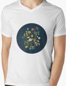 MeadowSweet Autumn on Rustic Blue Mens V-Neck T-Shirt