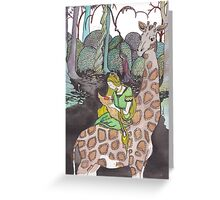 Giraffe and Foxchild  Greeting Card