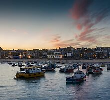 Sunset over St Ives Harbour, Cornwall UK by Carolyn Eaton