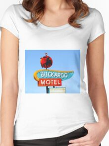 Buckaroo Motel Sign, Tucumcari, New Mexico  Women's Fitted Scoop T-Shirt