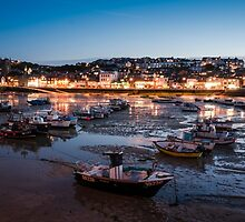 St Ives Harbour at Night, Cornwall, England by Carolyn Eaton