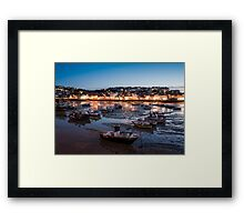 St Ives Harbour at Night, Cornwall, England Framed Print