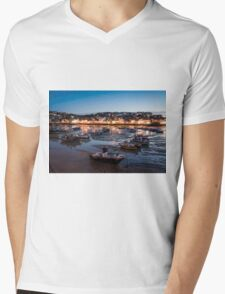 St Ives Harbour at Night, Cornwall, England Mens V-Neck T-Shirt