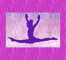 "The Gymnast ~ Pink and Purple Animal Stripe Version ""A"" by Susan Werby"