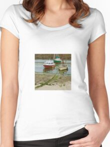 Fishing Boats in Mousehole Harbour, Cornwall Women's Fitted Scoop T-Shirt