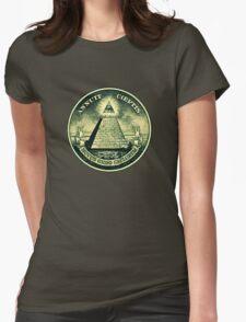 All seeing eye, pyramid, dollar, freemason, god Womens Fitted T-Shirt