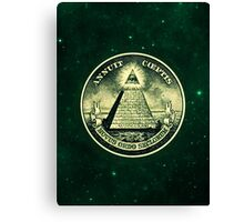 All seeing eye, pyramid, dollar, freemason, god Canvas Print
