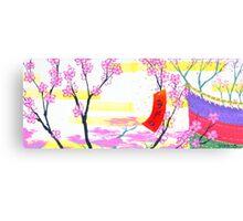 March Hanafuda - Cherry Blossoms Canvas Print