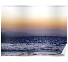 Marin County Hills across the Bay. Sunset Poster