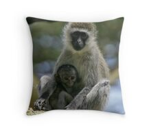 Vervet monkey & baby Throw Pillow
