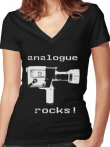 analogue rocks Women's Fitted V-Neck T-Shirt