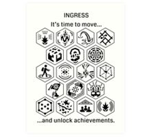 Ingress Achievements Black Art Print