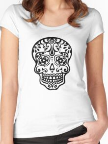 Mexican Sugar Skull, Day of the Dead, Dias de los muertos Women's Fitted Scoop T-Shirt