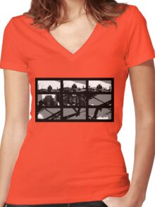 Crossing The Bridge into The Abstract Women's Fitted V-Neck T-Shirt