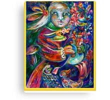 Orphan Child with Flowers Canvas Print