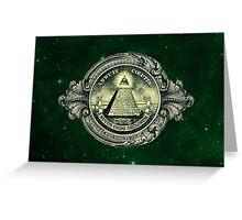 All seeing eye, pyramid, dollar, freemason, god Greeting Card