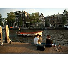 Two young women and a boatman Photographic Print