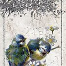 Vintage Birds Crackle Grunge by angelandspot