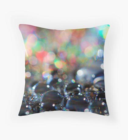 Neon Rainfall Throw Pillow