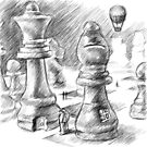 The Chess People Drawing by Samuel Durkin