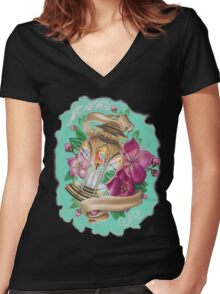lantern with cherry blossoms Women's Fitted V-Neck T-Shirt