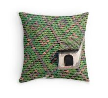 Green Tiled Roof Throw Pillow