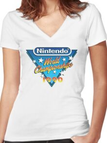 Nintendo World Championships 1990 Women's Fitted V-Neck T-Shirt