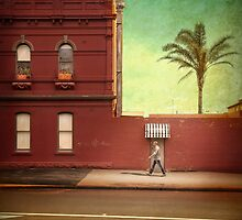 Pub, palm and pedestrian by Adrian Donoghue