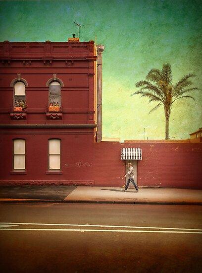 Pub, palm and pedestrian by Adrian Donoghue