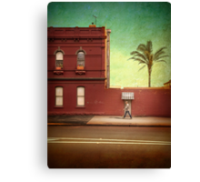 Pub, palm and pedestrian Canvas Print