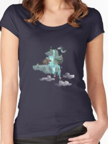 Low Poly Bear Fishing for Salmon Women's Fitted Scoop T-Shirt