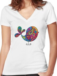 Big Rainbow Bird Women's Fitted V-Neck T-Shirt