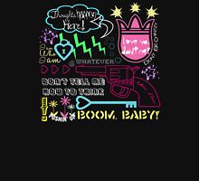 """Girl Interrupted"" Thoughts, Quotes, Sayings, Funny, Humor, Typography, Gun, Hearts, Loaded, Neon, Pink, Blue, Green, Yellow, Thunderbolt, Cloud, Unisex T-Shirt"