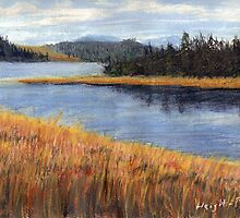 Nestucca River Oregon Pastel Painting by Pagani