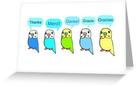 Budgie Thank You Card by parakeetart