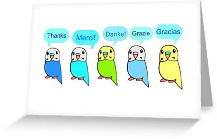 Budgie Thank You Card by parakeetart