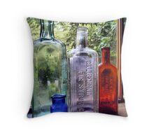 Vintage Bottles Throw Pillow