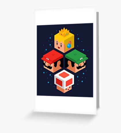MUSHROOM KINGDOM CUBES Greeting Card